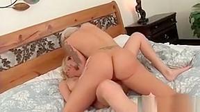 Blonde sharing massive dildo...