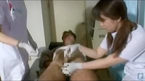 Japanese nurse cfnm gloves handjob...