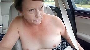 Exhibitionist milfs topless car dare...