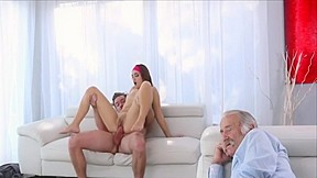 Skinny Blonde Stepbrother Fucked While Watching Hardcore