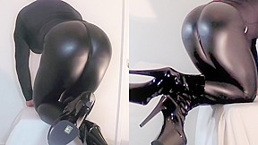 Leather latex fuck doll...