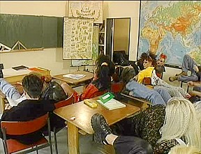 Vintage orgy classroom with students...