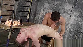 Bound blowjob and punishment with candle wax...
