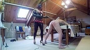 Mistress whips a sub slave...