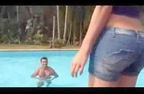 Lustful ladyboy screwing the pool...