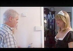 Maid sucks a cock...