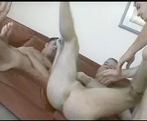 Sexy homosexuals sex on sofa...