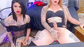 Two latina beautful tattooed tranny couple cock...