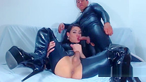 Latex leather shemale blowjob...
