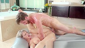 Naughty milf seduces stepson into erotic nuru and...