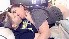 Hot milf kissing much younger dyke lesbians makeout...