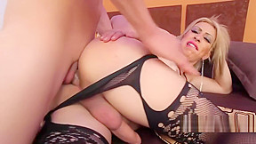 With cock in her ass hole...