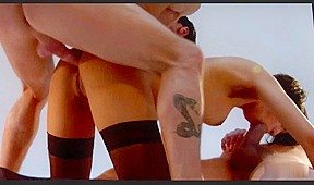 Movie shows a slut getting double penetrated...