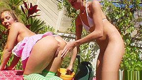 Outdoor strapon lesbians squirting milk analy...