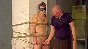 Bound blindfolded receives handjob...