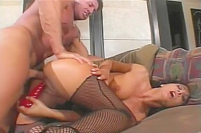 Dark haired chick gets a a dildo at...