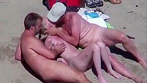 Beautiful bitch groped by his husband and strangers...