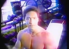 Bodybuilding flexing bulge muscle...