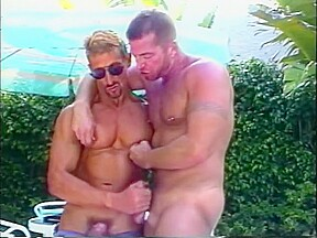 Sexy hot muscled hunks by the pool iron...