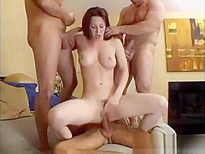 Sexy brunette wife brutal gangbang with three friends...