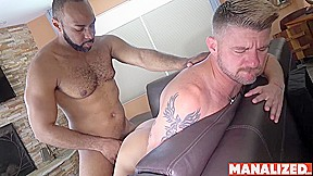 Manalized black ray diesel cums after...