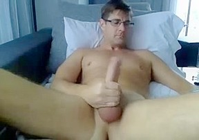 Str8 big daddy watching porn on bed...