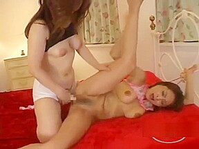 Hairy pussy fingered strapon in doggy bed in...