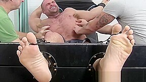 Gay tickled while being bound by mature master...