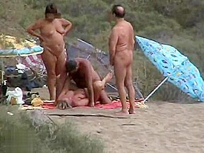 Busty and mature mommas daddies in beach...