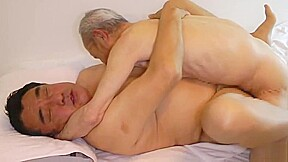 Japanese fat daddy sex with huge dick grandpa...