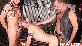 Manalized ethan palmer barebacked by bikers in threesome...
