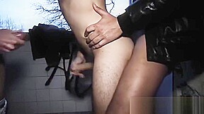 Lucky handsome young guy cocks...