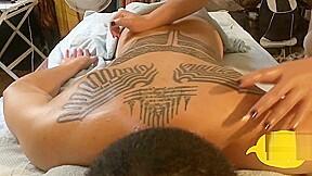 Private male massage tattoos getting massage...