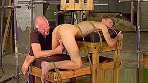 Mature master milks his slave...