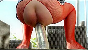 Straight outdoors garden anal fisting lingerie pantyhose dild...