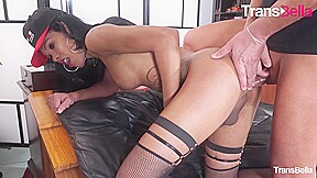 Transbella naughty takes italian rod up her ass...