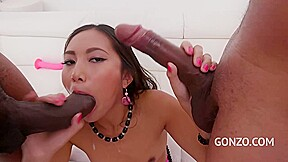 Amazing Chinese Brunette May Thai Got A Black Cock Up Her Booty During A Dp Session
