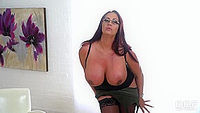 Busty woman with red hair she is home...