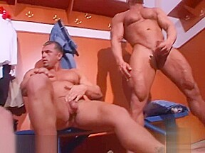Bodybuilders jerking off group with cumshots...