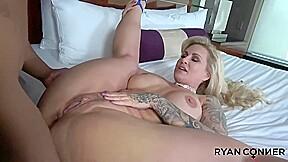 Inked blonde slut boobs and round ass had...