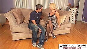 Fresh step mommy seduces well touching stepson...