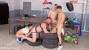 Naked mechanic gets used pissed on by co...