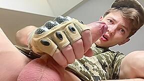 Straight military jock jerking his big dick 23...