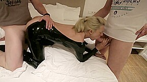 The booked latex anal whore 2 cocks for...