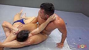 Oil wrestling...