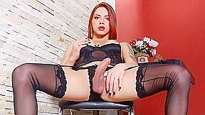 Seductive trans redhead marcelle herrera orgasms in black...