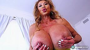 With giant tits stuffed twat dildo...