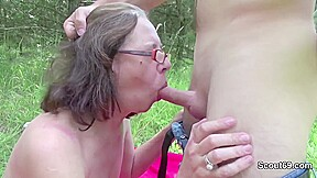 Young cocky pervert fucks 73yr old granny outdoor...