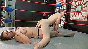 English women fight wrestling with strapon...