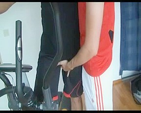 Sex in the gym with gay turkish trainer...